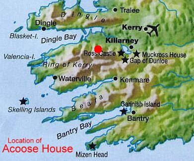 Map Of Ireland Showing Dingle.Map Of Iveragh Peninsula County Kerry Ireland